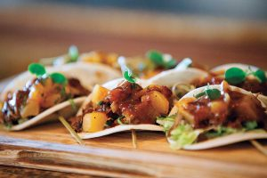 Seven Stars resort Executive Chef Edwin Gallardo and his crew combined slowcooked duck confit, crisp citrus and chocolate for Duck Taco in Mandarin Orange Chocolate sauce at both resort restaurants, The Deck and Seven.